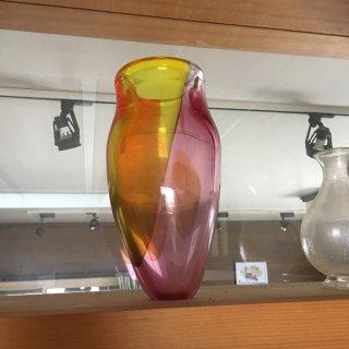 工芸ガラス 三色花入れ