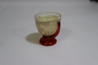 工芸ガラス <span>( Craft Glass )</span> 銀箔台付 ぐい呑み