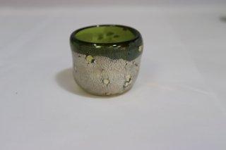 工芸ガラス <span>( Craft Glass )</span> 宙吹ガラス銀箔老竹斑紋 ぐい呑み