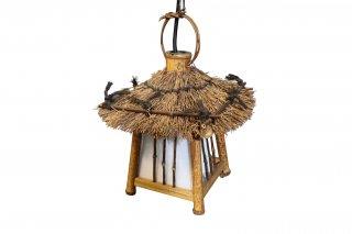 レトロ照明器具 昭和レトロ 和風吊り灯篭 竹製