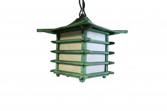 和風鋳物吊り灯篭  銅緑色 井桁【画像2】