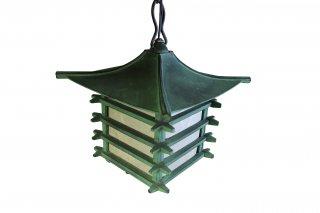レトロ照明器具 昭和レトロ  和風鋳物吊り灯篭  銅緑色 井桁