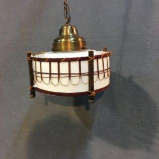 レトロ照明器具 古民家風竹編ペンダント   乳白ガラス     (E型10インチ)