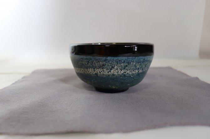 耐熱吹きガラス 抹茶碗 「熔彩濃墨」