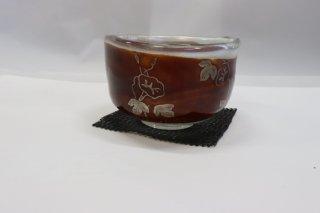 茶道具 <span>( 硬質硝子 )</span> 耐熱ガラス熔彩変抹茶碗(漆朝顔)
