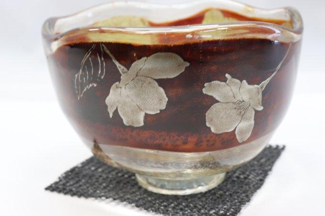 耐熱ガラス熔彩抹茶碗(蒔絵桜)【画像2】