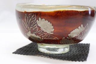 茶道具 <span>( 硬質硝子 )</span> 耐熱ガラス熔彩変抹茶碗(蒔絵菊)