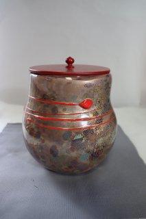 茶道具 <span>( 硬質硝子 )</span> 銀彩朱線水指(江佩)