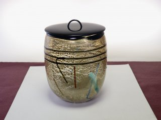 茶道具 <span>( 硬質硝子 )</span> 銀彩線巻水指(飴色斑紋)