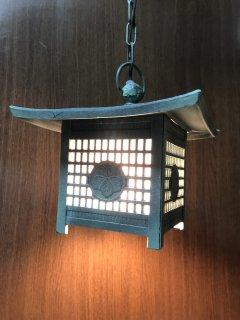 レトロ照明器具 吊り灯篭 銅緑色升目