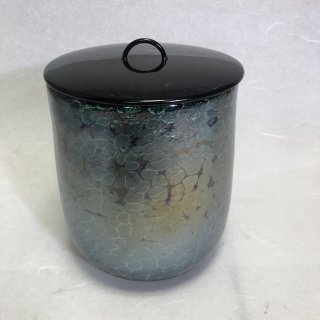 工芸ガラス 手吹き耀彩変翠斑紋文様水指