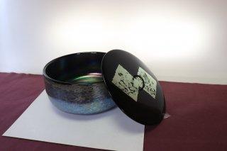 工芸ガラス 手吹きガラス耀彩変斑紋文様「水指」