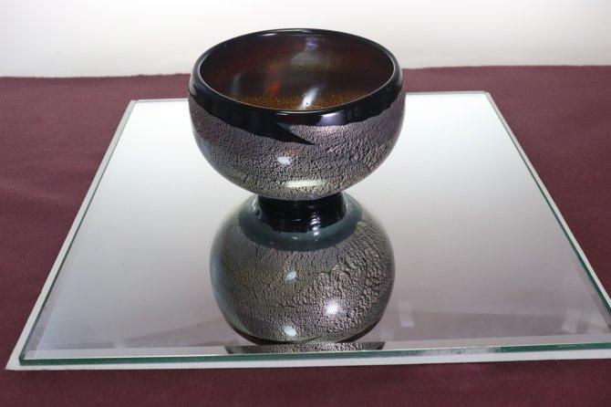 手吹き耐熱ガラス銀彩 抹茶碗 「琥珀」
