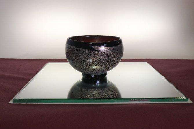 手吹き耐熱ガラス銀彩 抹茶碗 「琥珀」【画像2】