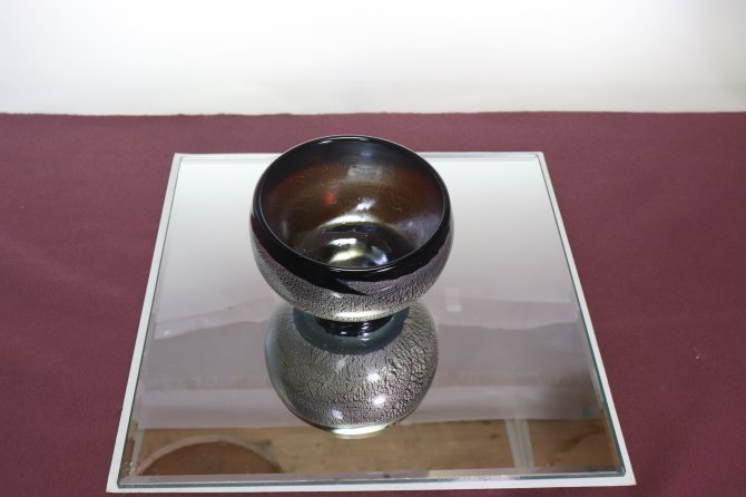 手吹き耐熱ガラス銀彩 抹茶碗 「琥珀」【画像3】