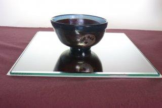 工芸ガラス 手吹き耐熱ガラス蒔絵抹茶碗(丸紋)