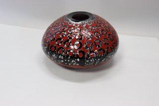 工芸ガラス <span>( Craft Glass )</span> 手吹きガラス花入れ(輪波漆)