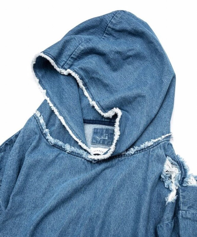 【 70%OFF 】OVER(ALL) X QALB DENIM HOODIE INDIGO(LIGHT BLUE)