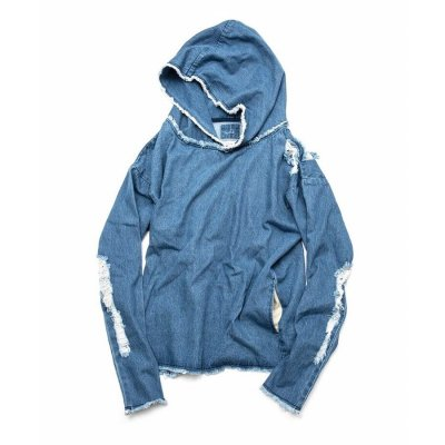 【 50%OFF 】OVER(ALL) X QALB DENIM HOODIE INDIGO(LIGHT BLUE)