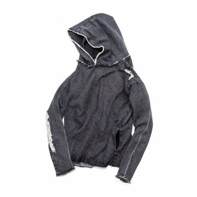 【 50%OFF 】OVER(ALL) X QALB DENIM HOODIE BLACK
