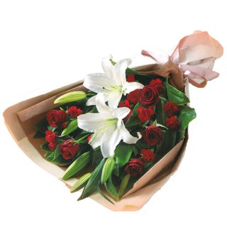 ローズ&リリーの花束