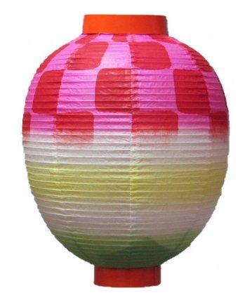 特殊型提灯(和紙)尺丸市松(φ27×33cm)