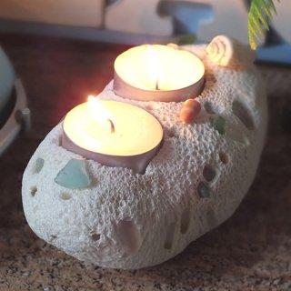 珊瑚(サンゴ)キャンドルホルダー W オブジェ シーグラスデコ E