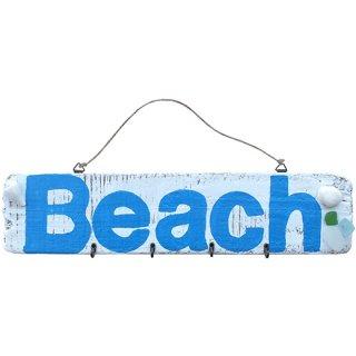 ドリフトウッド&シェル キーハンガー ビーチ BEACH LOGO 流木古板/海の木