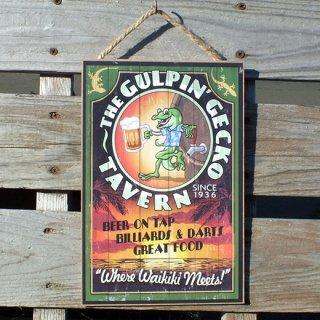ハワイアンウッドプラーク(木製看板) ゲッコー Gulpin' Gecko Tavern