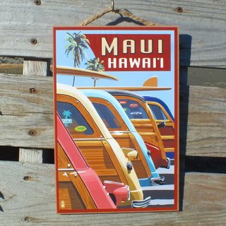ハワイアンウッドプラーク(木製看板) マウイ ウッディワゴン Mauy Woody Wagon