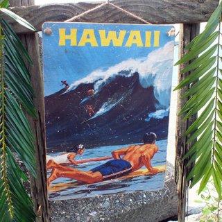 ハワイアンヴィンテージピクチャー ウッドプラーク(木製看板) HAWAII