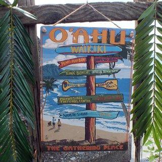 ハワイアンヴィンテージピクチャー ウッドプラーク(木製看板) Hawaii Oahu Waikiki