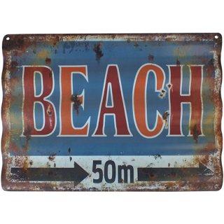 ビーチ メタルティンウェーブサイン Metal Tin Wave Sign BEACH