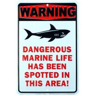 ビーチ/サーフ メタルサインプレート SHARK WARNING DANGEROUS MARINE LIFE