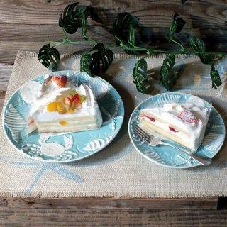 オーシャンプレート皿 ターコイズブルー&ホワイト