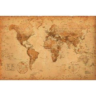 世界地図 オールドマップイラストポスター WORLD MAP ye olde
