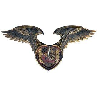 【同梱不可】スチームパンク ウォールクロック Winged Heart Wall clock