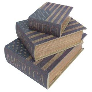 アメリカ星条旗 アンティークブックボックス3Pセット