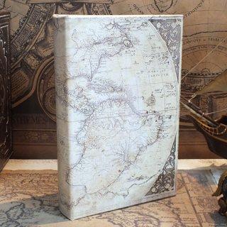 ブックケース/ボックス マップ(地図)ホワイトA 洋書風本型収納箱