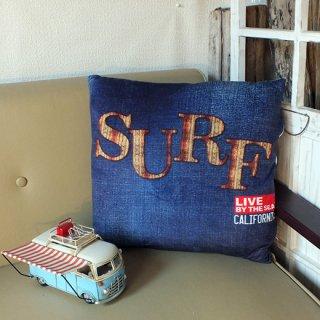 カリフォルニアスタイル プリントクッション サーフ デニム SURF Denim