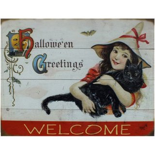 【同梱不可】ハロウィン ヴィンテージウッド看板 ウエルカムボード Hallowe'en-Greetings.Welcome