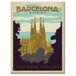 【同梱不可】ヴィンテージウッド看板 Barcelona,Spain