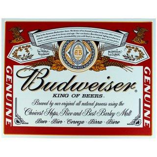 バドワイザーラベルロゴ ティンサイン Budweiser Label Metal Sign