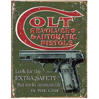 コルトティンサイン Vintage COLT-Extra Safety Tin Sign
