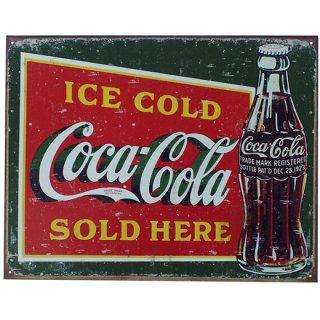 ノスタルジックメタルティンサイン コカコーラ ICE COLD Coca Cola SOLD HERE 1923 Coke Bottle