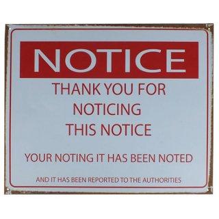 ヴィンテージ メタルサイン Noticing Notice