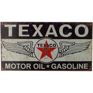 テキサコ メタルティンサイン Texaco Motor Oil Gasoline Winged Logo