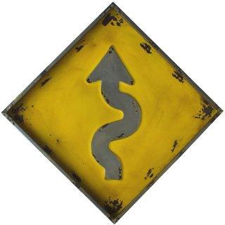 【同梱不可】ヘビーゲージ ロードサイン(カーブ警告) 看板 Heavy Gauge Curves Ahead Warning Sign