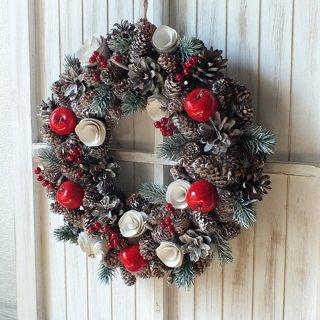 Xmas・クリスマスアップルコーンリース L