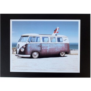 ハワイアンポスター サーフィンシリーズ ワーゲンサンババス VW Samba Bus beach
